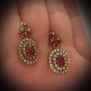 Delicate Red Ruby Solid Sterling Silver Earrings